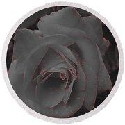Black Rose Round Beach Towel