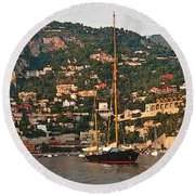 Black Sailboat At Villefranche II Round Beach Towel