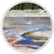 Black Sand Basin Geysers In Yellowstone National Park Round Beach Towel