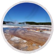Black Sand Basin In Yellowstone National Park Round Beach Towel