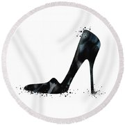 Black Shoe Fashion Watercolor Print  Round Beach Towel