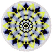 Black, White And Yellow Sunflower Round Beach Towel