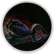Black Swan In Color Round Beach Towel