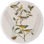 Black Throated Green Warbler Blackburnian Mourning Warbler Round Beach Towel