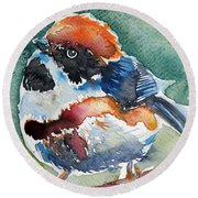 Black- Throated Tit Round Beach Towel