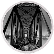 Black Tracks Round Beach Towel