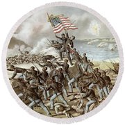 Black Troops Of The Fifty Fourth Massachusetts Regiment During The Assault Of Fort Wagner Round Beach Towel