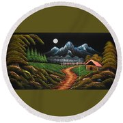 Night View With Full Moon Round Beach Towel