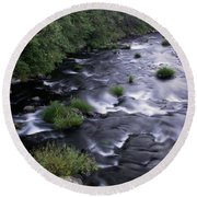 Black Waters Round Beach Towel