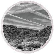 Black White Chem Trails Sky Overton Nevada  Round Beach Towel