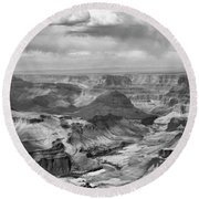 Black White Filter Grand Canyon  Round Beach Towel