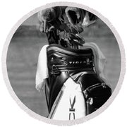 Black White Tiger Woods Bag Clubs  Round Beach Towel