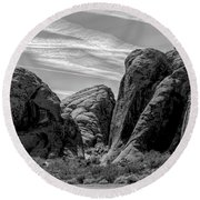 Black White Valley Of Fire  Round Beach Towel