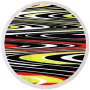 Black Yellow Red White Abstract Round Beach Towel