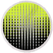 Black Yellow White With Abstract Action Round Beach Towel