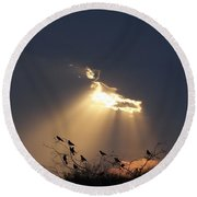 Blackbird Sky Round Beach Towel