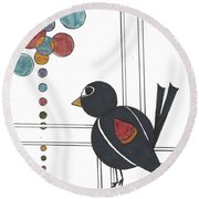 Blackbird With Circles Round Beach Towel