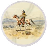 Blackfoot Indian. A Crow Scout Round Beach Towel