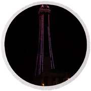 Blackpool Tower Pink Round Beach Towel