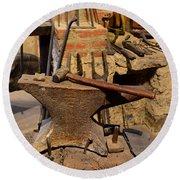 Blacksmith - Anvil And Hammer Round Beach Towel