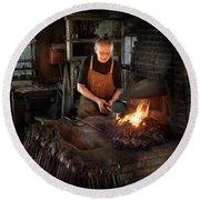 Blacksmith - Blacksmiths Like It Hot Round Beach Towel by Mike Savad