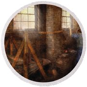 Blacksmith - It's Getting Hot In Here Round Beach Towel by Mike Savad