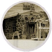 Blacksmith Shop 1867 Cove Creek Fort Utah Photograph In Sepia Round Beach Towel