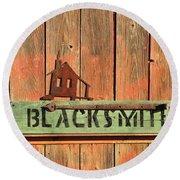 Blacksmith Sign Round Beach Towel
