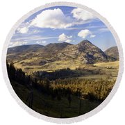Blacktail Road Landscape Round Beach Towel
