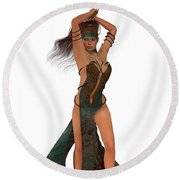 Blackthorn Rose Warrior Round Beach Towel