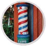 Blake's Barbershop Pole Vector I Round Beach Towel