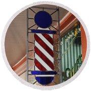 Blake's Barbershop Pole Vector II Round Beach Towel