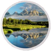 Blame It On The Tetons Round Beach Towel