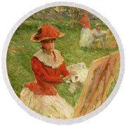 Blanche Hoschede Painting Round Beach Towel