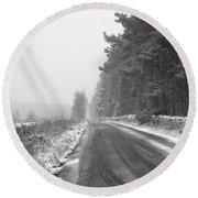 Blanchland Road In Winter, Slaley Woods Round Beach Towel