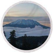 Blanket Of Fog Below Mount Saint Helens Round Beach Towel