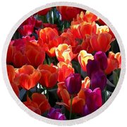 Blankets Of Tulips Round Beach Towel