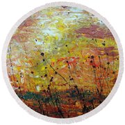 Blazing Prairie Round Beach Towel