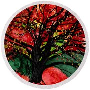 Blazing Red Orange Autumn Tree Round Beach Towel