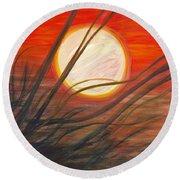Blazing Sun And Wind-blown Grasses Round Beach Towel