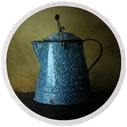 Blue Enamelware Coffee Pot Round Beach Towel