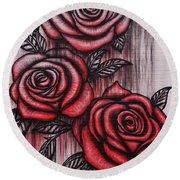 Bleeding Roses Round Beach Towel