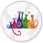 Blended Family Of Seven Round Beach Towel