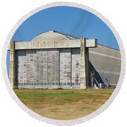 Blimp Hanger From Closed El Toro Marine Corps Air Station Round Beach Towel