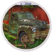 Blind In One Eye 1947 Chevy Flatbed Truck Art Round Beach Towel