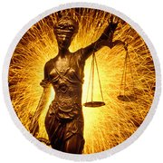 Blind Justice  Round Beach Towel