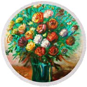 Blissful Blooms Round Beach Towel
