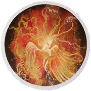 Blissful Fire Angels Round Beach Towel