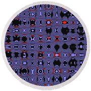 Bllue And Black Abstract #4 Round Beach Towel