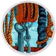 Block And Tackle Round Beach Towel
